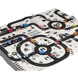 Nordic Città parcheggio gioco Carpet 130 * 100cm Road Map auto Giocattoli del gioco del bambino giocattolo educativo Mats portatili regali Il mio gioco Pad per i bambini LJ201113