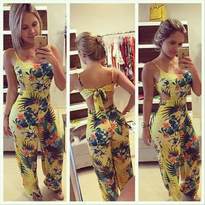 Fashion New Women Clubwear Floral Playsuit Bodycon Party Sleeveless Jumpsuit romper Long Trousers Set drop shipping good quality
