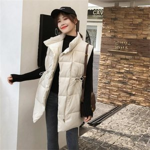 Women's Winter New Korean-Style Slim-Fit Drawstring down Jacket Cotton-Padded Clothes Waistcoat Vest Y201012
