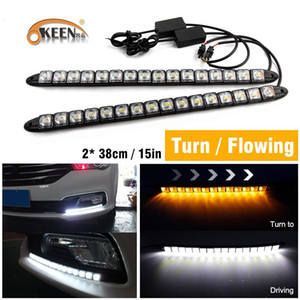 OKEEN 2pcs Stretchable Daytime Running Lights Strip drl angel eyes with Turn Signal sequential led flowing Drivin White Yellow