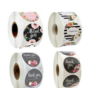 500Pcs roll Floral Thank You Sticker Paper Label Stickers Scrapbooking Wedding Envelope Seals Handmade Stationery Sticker DHL Free SN1960