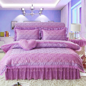 4Pcs Quilting lace Princess style luxury bedding sets queen king size duvet cover set bed skirt set pillowcase bedclothes