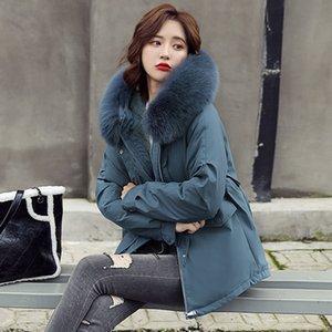 Vielleicht New Korean Fur Hooded Jackets Parkas Winter Jacket Women Clothing Short Style Warm Thick Slim Winter Coat Female 201110