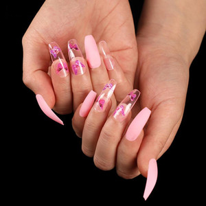 24pcs Butterfly Fake Nails with Glue Pink Clear with Butterfly Designs Acrylic Nails Coffin Full Cover Long Nail Tips Supplies