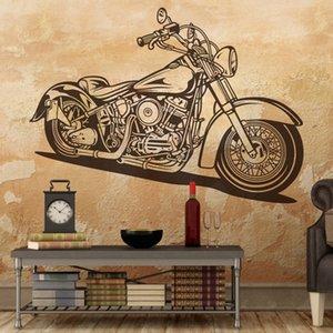 Большой Harle Motorcycle Motorbike Наклейки на стену Гараж Детская комната Классический моторный гоночный мотоцикл накаляется наклейка Спальня Винил-декор 201130