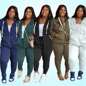 Chándales tendencia de la moda de manga larga Cardigan cremallera con capucha Trajes bragas de la capa Diseñador otoño Mujer ocasional delgado 2pcs sistemas Mujeres sólido de color