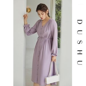 Dushu V Hals Flare Sleeve Lange Chiffon Kleid Frauen Bandage Slim Purpel Elegantes Kleid Plus Größe Weibliche Herbst Büro 20201