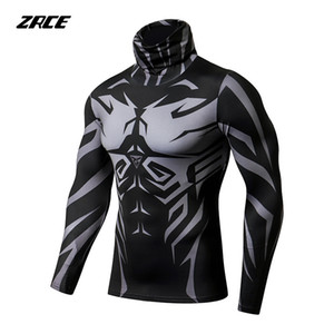 Zrce Mens Jogging Formazione Ciclismo Esecuzione Sport manica lunga maglietta aderente Bodybuilding Fitness Compressione Sportswear