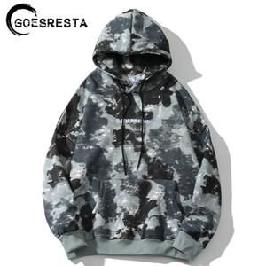 GOESRESTA Autumn Fleece Inverno Hip Hop Hoodie Homens Camuflagem Moda Casual moleton Camisola encapuçado dos homens Oversized Q1105
