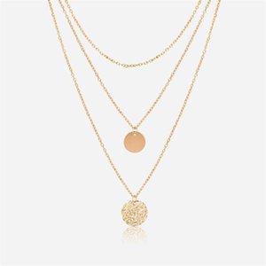 숙녀 불규칙한 다층 오목 월 r 펜던트 체인 목걸이 패션 크리 에이 티브 라운드 다층 목걸이 jewelry y301