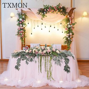 Table Floral Arch Fake Flower Wedding Window Triangles Artificial Row Flower Wall Hotel Wedding Stage Background Decorative
