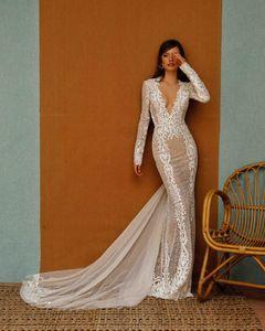 Berta Mermaid Wedding Dresses Lace Appliqued Deep V Neck Long Sleeve Wedding Dress Sweep Train Custom Made Plus Size Robe De Mariee