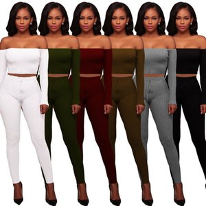 Women Designer Sportswear Long Sleeve Off Shoulder Sweat Shirt Pants Tracksuit Hoodie Legging 2 Piece Set Bodycon Outfits