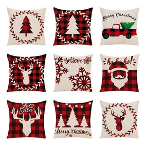 fashion Christmas pillowcase washable Elk car sofa cushion cover pillow cover Plaid Pillowcase Home Textiles 9 style SS51681