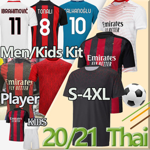 4XL Balr AC Jersey Milan Fans Joueur de football Version 2020 2021 Ibrahimovic Tonali Rebic Theo Çalhanoglu Hommes Kits Enfants Chemise de football