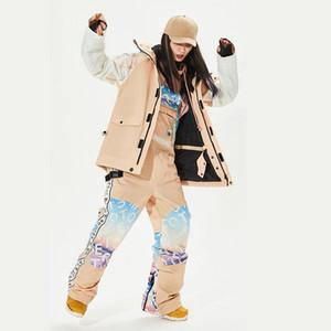 Теплая лыжный костюм для женщин с капюшоном куртка Общий женщина сноуборд Зимних спортивных костюмов Женской Водонепроницаемыми снега костюм Одежда