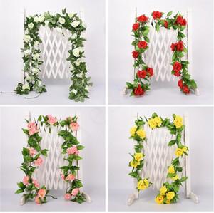 2.2M 인공 꽃 포도 나무 가짜 실크 로즈 아이비 꽃 결혼식 장식에 대 한 인공 포도 나무 매달려 가정 장식 FFD4810
