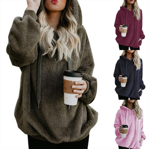 Plus Size Winter Solid Color Womens Long Sleeve Hooded Pullover Zipper Top Casual Loose Slim Thin Pocket Hoddies Tunic Jacket