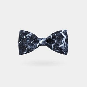 Fashion Men's Creative Bow Neck Tie, Black Stone Marble Pattern, Personal Unqiue Gift for Wedding Party Casual Dress