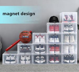 Magnet Design Transparent Plastic Shoe Box AJ Sneakers Dustproof Shoe Storage Box Flip Shoe Boxes Stackable Organizer Box 2 Colors