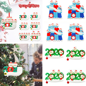 격리 된 개인화 된 나무 장식품 234567 얼굴 마스크의 Survivor 가족 손을 무독화 된 customiz 크리스마스 장식 500pcs t1i2494