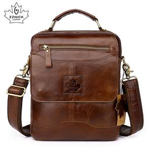 hommes véritable sac à bandoulière en cuir Porte-documents commerciaux Flap Pocket 2019 sac à main de mode 100% ZZNICK Q1104