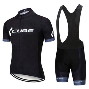 New Men Cube Team Cycling Jersey Suit Short Sleeve Bike Shirt Bib Shorts Set Summer Quick Dry Bicycle Outfits Sports Uniform Y20042401