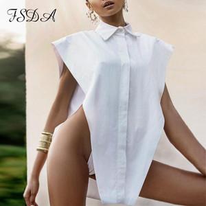 FSDA 2020 Women White Sleeveless Blouse Shirt Fashion Black Autumn Summer Turn Down Collor Elegant Shirt Top Lady