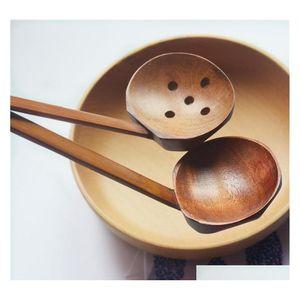 2 estilos Sopa de sopa Colher Colander Madeira Talheres de Mesa Japonesa Ramen Long Handle Long Habilo P SQClsv Wphome