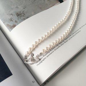 Shell Pearl Choker Saturno Pearl Collar Femenino Nicho Luz Lujo Cadena de clavícula francesa 925 Collar de plata esterlina 1020