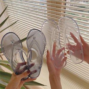 SPCITY INS Hipster Transparente Flip Flops Mujeres Piso con zapatillas de playa antideslizante Mujeres de verano Casual Zapatos exteriores1