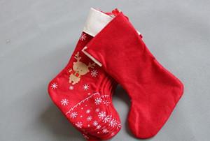 Décorations de Noël flocon de neige cerf sacs de pomme de bonbons sac de cadeaux de bas de Noël envelopper longues bas rouges Party Supplies GWE2801 fête