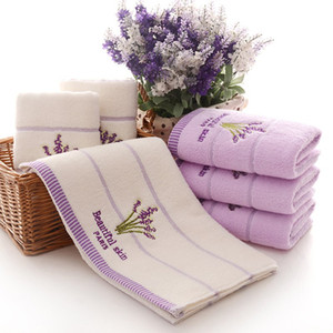 New Purple Lavender Embroidered Towels High Quality Cotton Large Bath Towel Soft Absorbent Beach Face Towel Set for Women