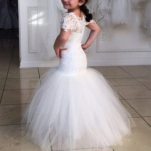 Short Sleeves Girls Pageant Dresses Mermaid Lace Mother And Girl Dress Flower Girl Dresses For Teens Formal Holy Communion Gown