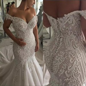 Robe De Mariee Elegant Mermaid Lace Wedding Dress Off The Shoulder Appliqued Bridal Gowns Sweep Train Beach Wedding Dress Vestidos De Noiva