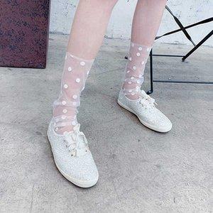 Mujeres 2020 Hot Ruffle Fishnet tobillo Transparente Lady Verano Sexy Polka Dot Lace Pesc Pesc Pesc Socks Malla Hosiery