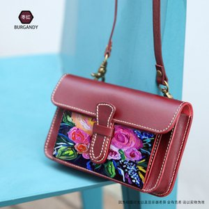 2020 Small Small square bag Painted Flowers Real leather Womens Messenger bag Painted bag women Genuine leather Bags Crossbody
