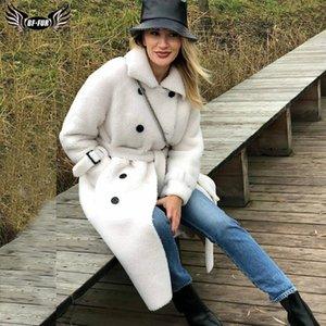 BFFUR Long Woolen Jacket With Belt Real Fur Coat Turn Down Collar Women's Coats Natural Sheepskin Female Winter Outfit 201015