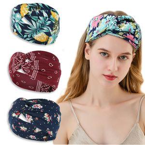 New wide-brimmed cross headband ladies bohemian printed knitted headband sweat-absorbent headband sports yoga headbands free shipping