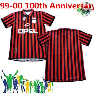 Rétro Classique 99 00 AC Milan 100th anniversaire Soccer Jerseys Pirlo Maldini Kaka AC 09/10 Chemise de football rétro
