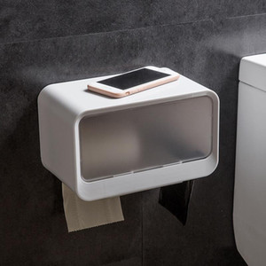 ABS Bathroom waterproof tissue box wall hanging paste roll paper tray toilet paper holder Garbage bag storage rack mx7101438