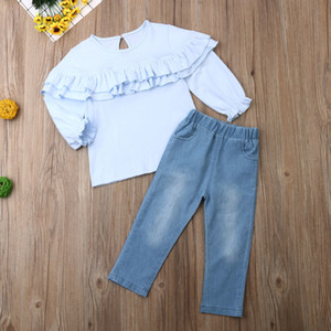 Kids Baby Girl Clothes Sets Blue Long Sleeve Ruffle T-Shirt Tops +Denim Pants Jeans Outfits Kids Autumn Clothing