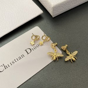 Dijia diamond honeybee star simple fashion trend versatile d letter 925 silver pin Earrings