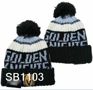 Новый полосатого Vegas Golden Knights Шапочка Pom Knit Sideline Главных Официальный Спортивный Knit Hat Шерсть Bonnet Hip Hop Skull Cap