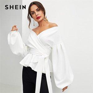 SheIn Office White Lady Elegant Lantern Funda Surplum Peplum Off The Hombro Blusa Sólida Otoño Autumn Mujeres Sexy Tops y Blusas