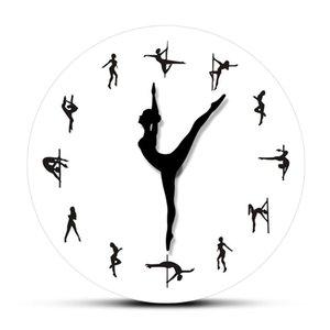 Pole Dancing Clock Hands Decorative Wall Clock Steal Tube Dance Pole Dancers Silent Move Wall Dancing Room Art Decor