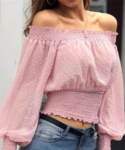 Female Blouse Women 2020 Off Shoulder Long Sleeve Shirt Lady Blouse Button Fashion femme elegant workwear Shirt office shirt