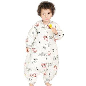 Пижама для мальчика Рождество зимой девушки теплой Unicorn акулы Dinosaur Pattern Хлопок Padded Детский Цельный спальный мешок костюм
