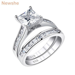 Newshe Women's Wedding Ring Set 7mm Princess Cut Zircon 925 Sterling Silver Engagement Rings Classic Jewelry For Women QR58531