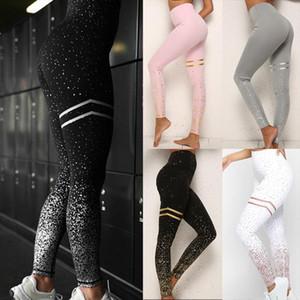 Women High Waist Leggings Hot Stamping Gold Glitter Workout Butt Lift Trouser Lady Athletic Fitness Sport Dotted Slim Long Pants